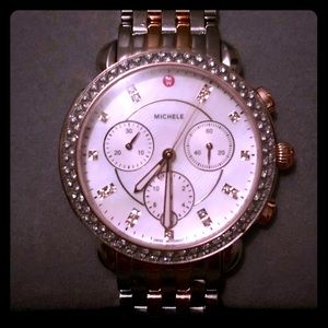 Michele Sidney Two-Tone Pink Gold Diamond Watch